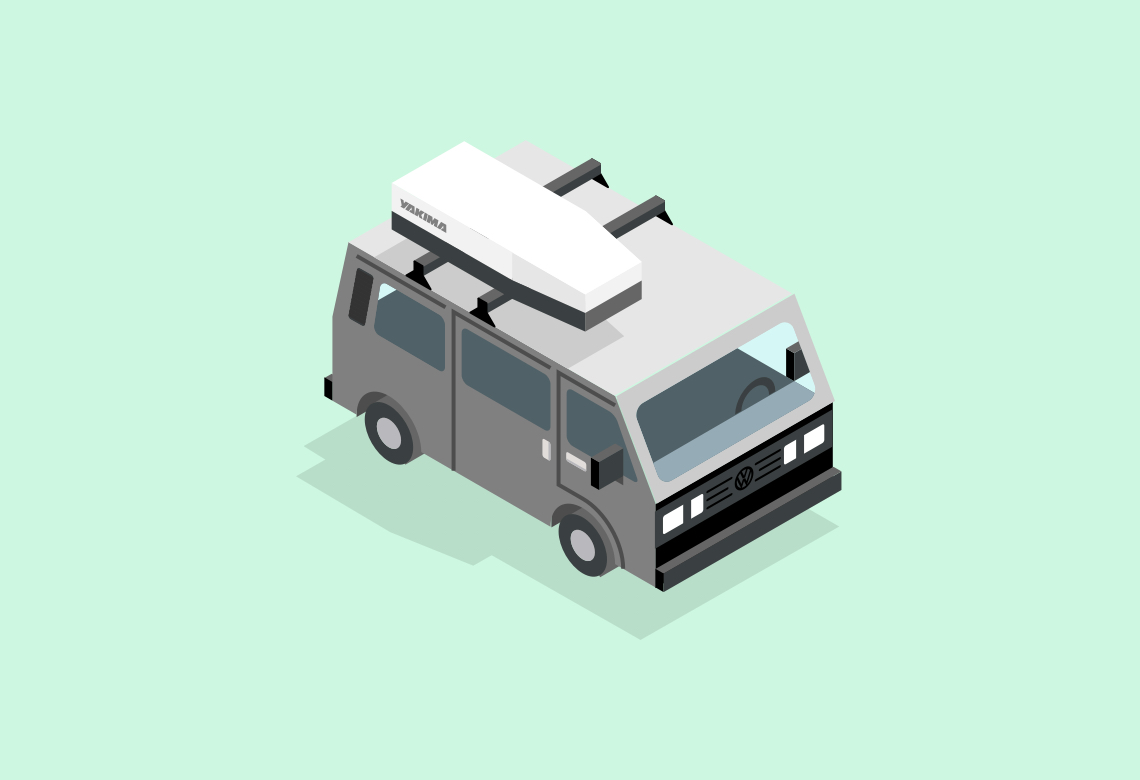 VW Camper Van Isometric Illustrations